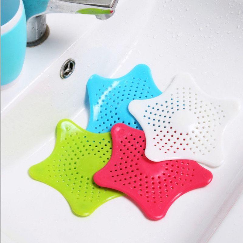 Nova cozinha de silicone estrela de cinco pontas pia do banheiro filtro otário piso drenos chuveiro filtro de cabelo filtro coador de esgoto