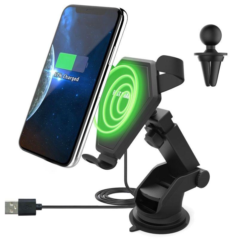 Veloce Qi Wireless Charger 2 in 1 supporto del supporto dell'automobile del telefono gravità di reazione per iP 8 Plus X Samsung Galaxy S6 S7 S8 Più