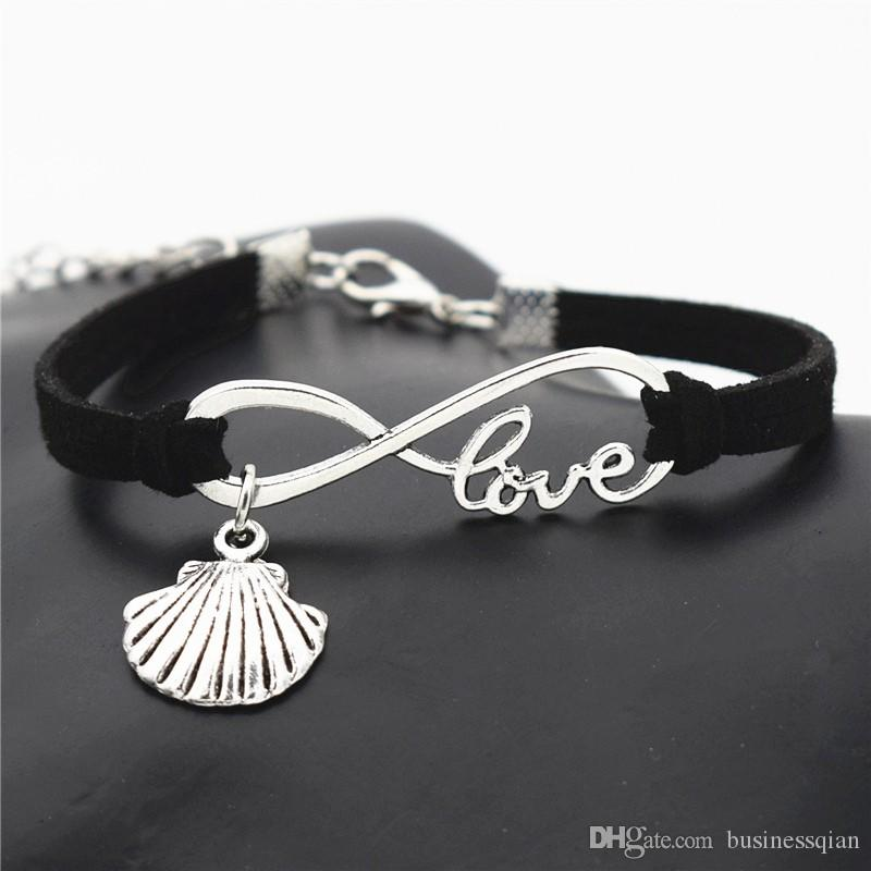 New Beach Vintage Style Antique Silver Infinity Love Sea Shell Conch Seashell Charm Black Leather Suede Bracelets Bangles Women Gift Jewelry