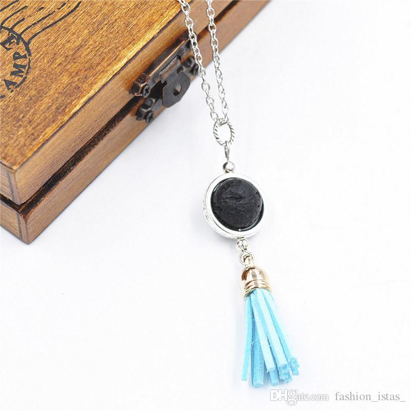 14mm Collar de Lava Negro Granos de Piedra Aromaterapia Aceite Esencial Difusor de Perfume Collar de Cadena de Plata Joyería de Las Mujeres