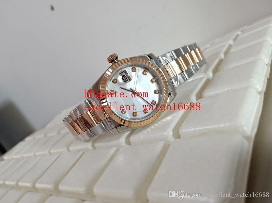 Women's Luxury watches Date just 36 mm 116231 279173 18k Rose Gold Mother of pearl White Diamond Dial Asian 2813 Automatic Mechanical Women