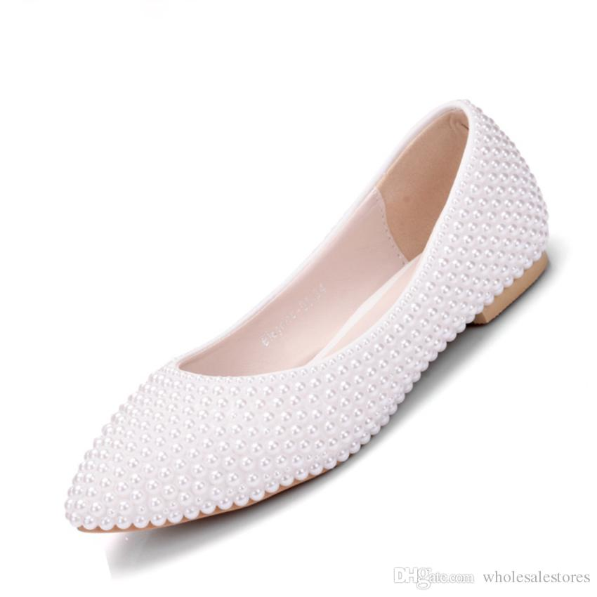 women shoes flats casual pointed toe wedding flats white pearls women shoes flats flat heel fashion