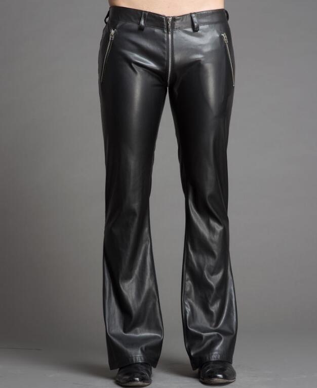 28-39 Hot 2018 Spring New Fashion Personality Zippers pu pantaloni in corno