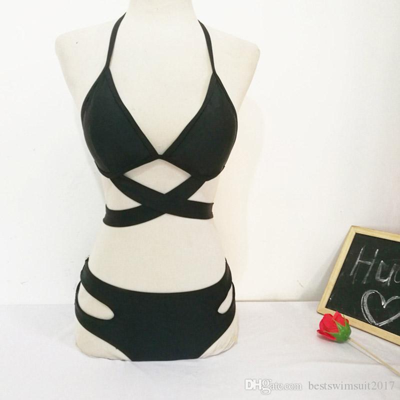 Купальники 2018 сексуальный черный купальник для женщин пляжная одежда купальный костюм женщина бразильский купальник пуш-ап купальники женщины бикини набор S-XL