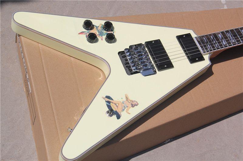 Steve Jones Yellow Flying V guitare électrique Floyd Rose Tremolo, Pick-up EMG actif, Sandwich du cou, autocollants rétro fille, Split bloc Inlay