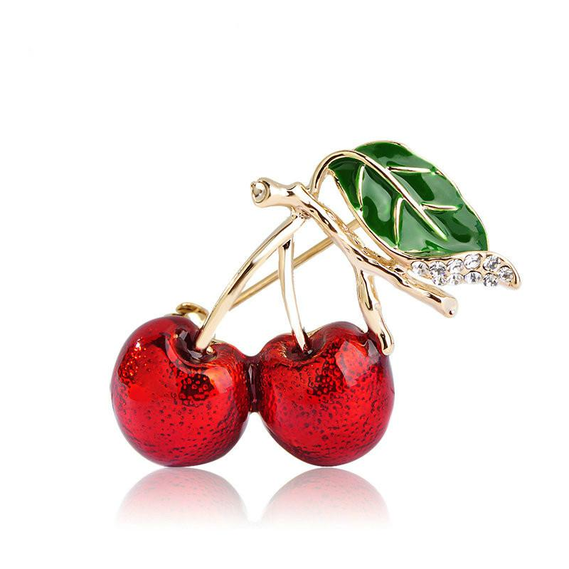 2018 Red Enamel Brooches For Women Kids Cherry Brooch Corsage Small Bouquet Hijab Pins Feminino Party Bag Dress Accessories