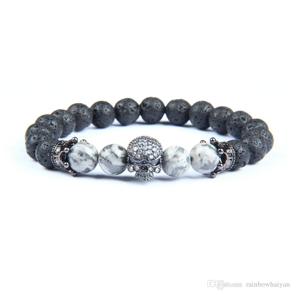 New Gun Black Men Jewelry Micro Pave Crown Spartan Skull Bracelets With 8mm Natural Lava Rock Stone Beads