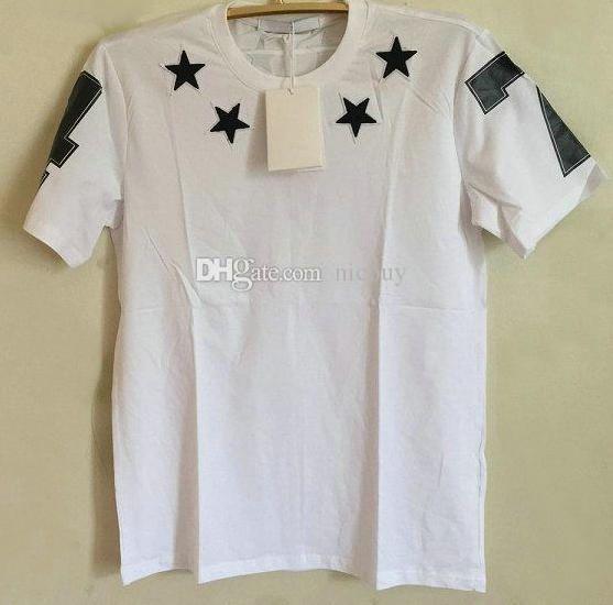 estate maglietta di marca stilista molla per gli uomini affollano stella nera 7 4 lettera cotone delle parti superiori della stampa maglietta casuale Tee shirts