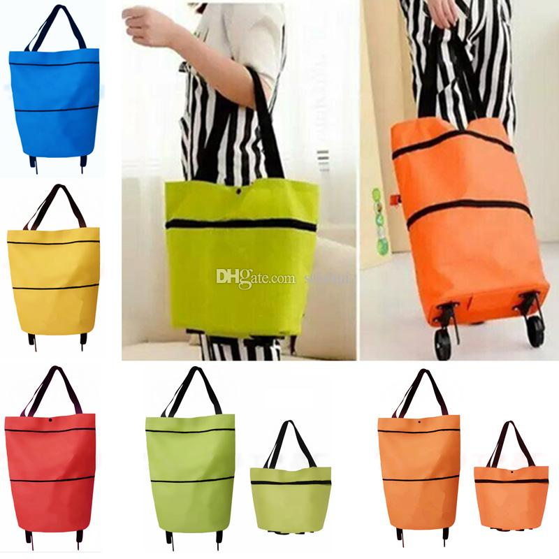 New Shopping Trolley Bag With Wheels Portable Foldable Shopping Bag reusable storage Shopping Wheels Rolling Grocery Tote Handbag WX9-718