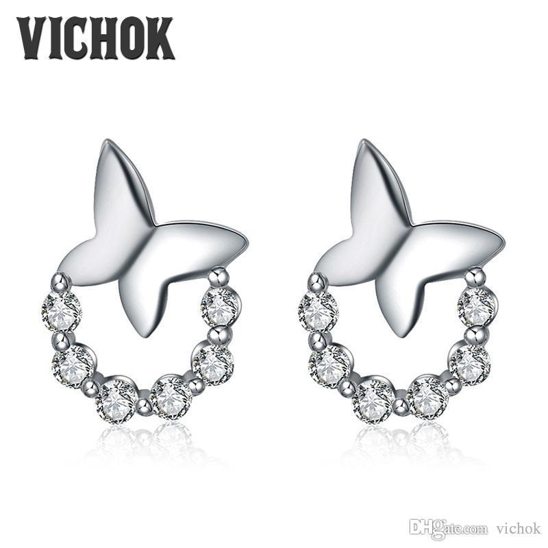 Butterfly on Wreath Stud Earrings 925 sterling silver stud earrings Cute Jewelry For Elegant Women boucle d'oreille femm Fine Jewelry V