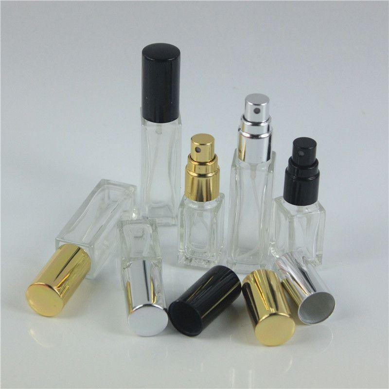 50 قطعة / الوحدة 5 ملليلتر 10 ملليلتر واضح زجاج سميك ميست بخاخ زجاجة عطر مع الأسود الذهب والفضة غطاء إعادة الملء المحمولة مصغرة زجاجة عطر