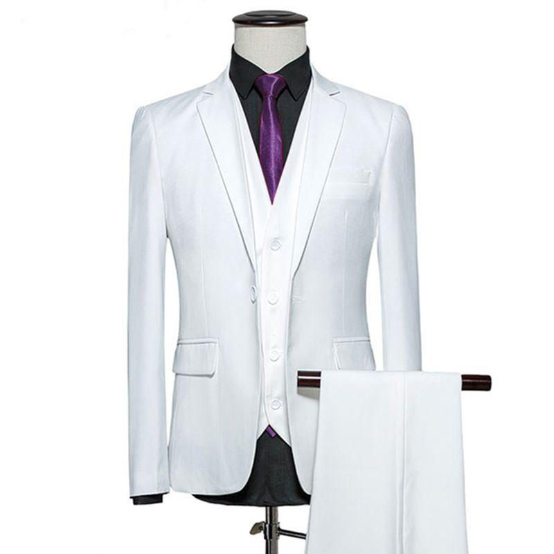 Custom Made 2018 Homens Brancos Terno Do Noivo Smoking Formal Blazer Slim Fit 3 Peça Prom Terno Do Casamento Noivo Melhor Homem Bonito Jaqueta + Calça + colete