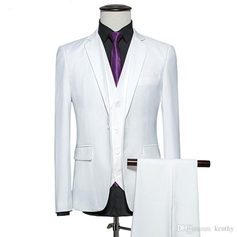 Custom Made 2018 White Men Suit Groom Tuxedo Formal Blazer Slim Fit 3 Piece Prom Wedding Suit Bridegroom Best Man Handsome Jacket+Pant+Vest
