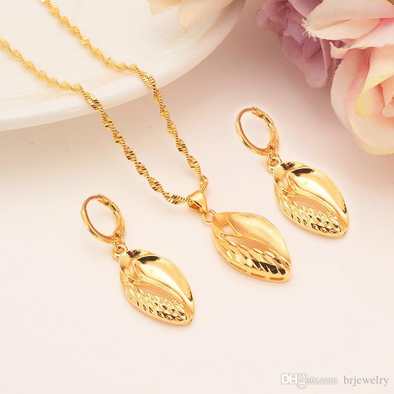 Ouro dubai india Colar Brinco Set Mulheres Presente Do Partido leavf Conjuntos de Jóias uso diário mãe presente DIY encantos das mulheres meninas Fine Jewelry