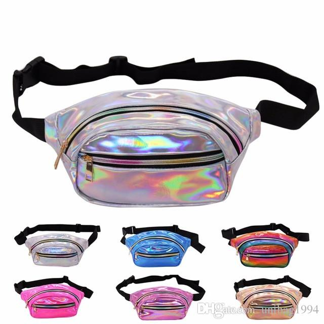 NEW Holographic Fanny Pack Women Laser Bum Bag Travel Beach Shiny Small Waist Bags Sport Hip Bag Fashion Waterproof Hologram Chest Bags
