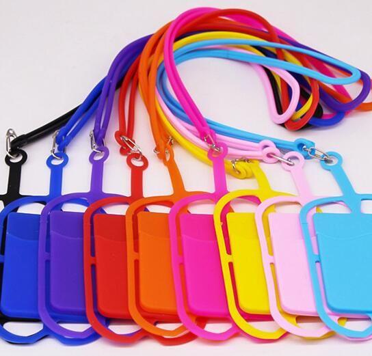 Titular da bolsa de cartão de identificação de crédito universal silicone colhedores cinta slot para cartão de bolsa colar titular sling para iphone x xs max xr 8 7 6 além de