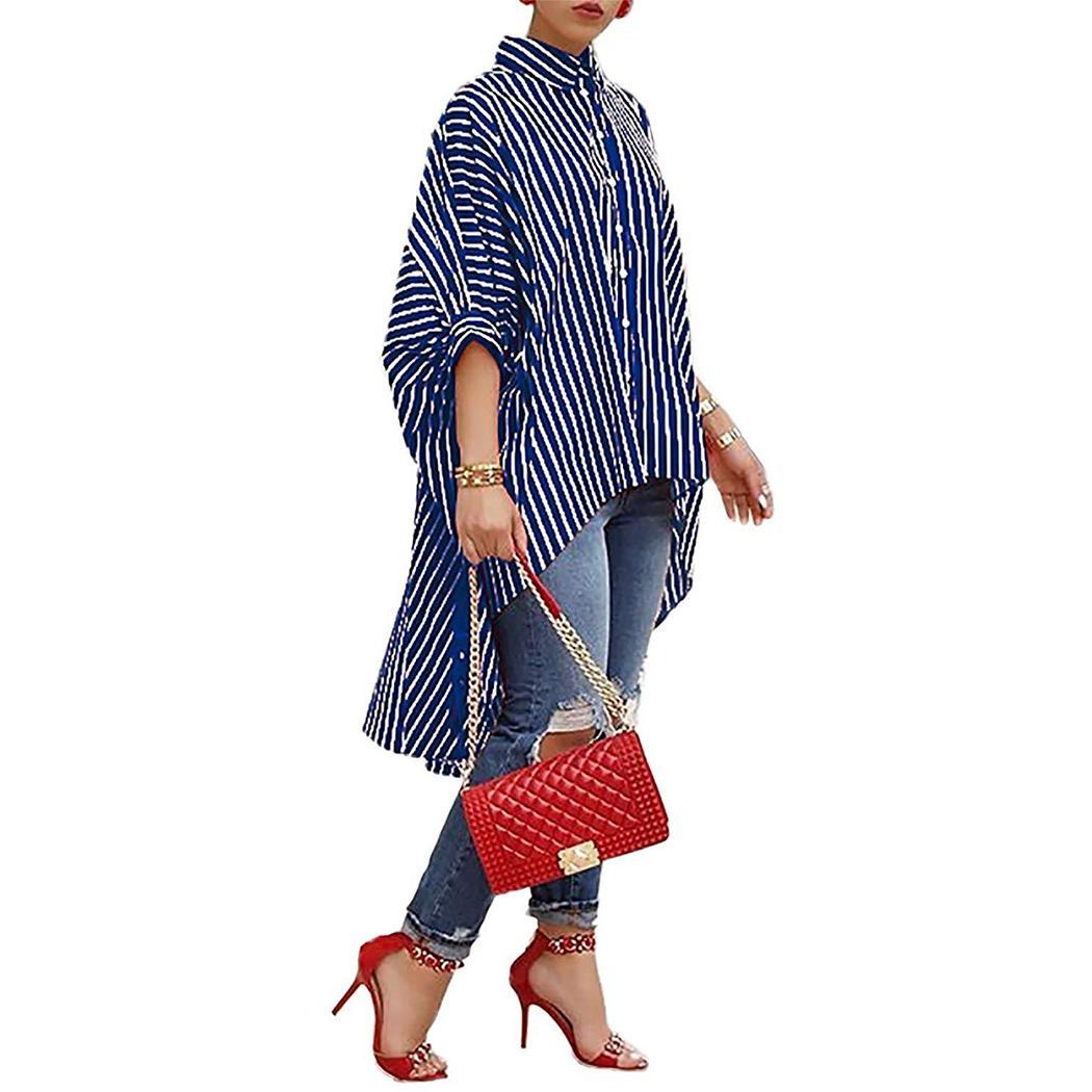 Women Office Clothing Striped Print Casual Big Skirt Shirt Ladies Irregular Tops Plus Size Loose Bat Sleeve Shirt
