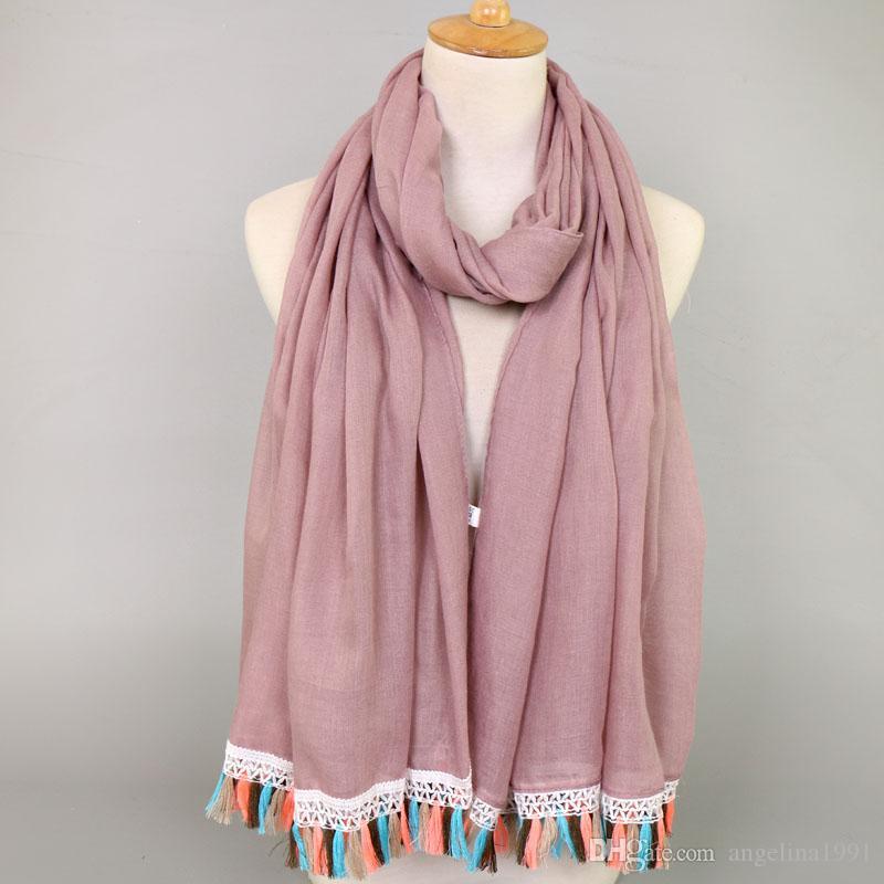 women lace tassels cotton viscose plain color bohemian shawls hijab summer muslim long scarves/scarf 12 color 180*90cm