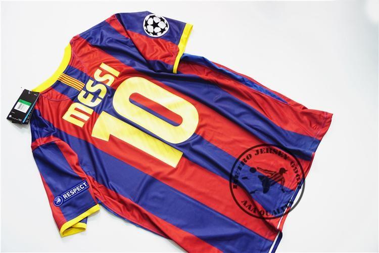 Freies verschiffen 2010-2011 hause messi xavi henry puyol david villa retro jersey alten shirts final champion league