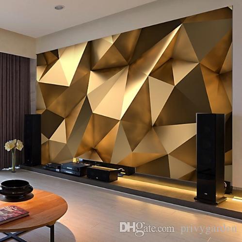 Modern Yaratıcı Duvar Kağıdı 3D Stereo Altın Geometri Sanat Duvar Bez Oturma Odası TV Kanepe Zemin Duvar Kapsayan Ev Dekor