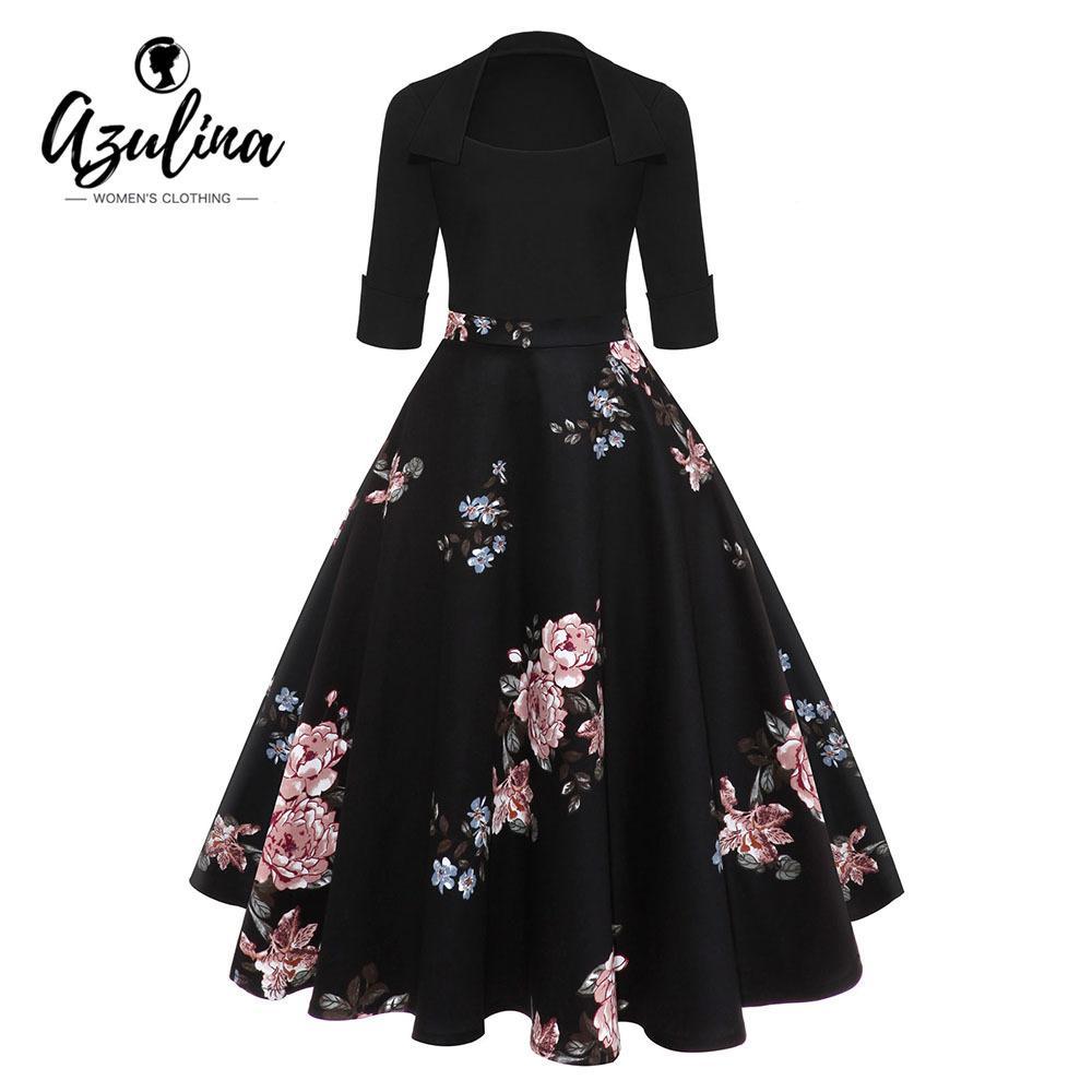 Großhandel AZULINA Audrey Hepburn Vintage Party Kleid Frauen Floral Flare  Midi Kleider Winter Herbst Retro Elegantes Kleid Vestidos Robe Femme
