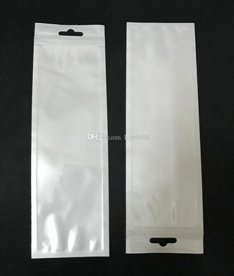 7cmX22. 5cm длинные белые / прозрачные молнии пластиковые розничные упаковочные мешки высокое качество сумка для хранения пакет ж / повесить отверстие для вилки ложки