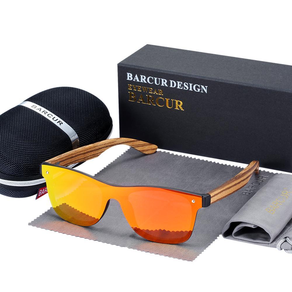 BARCUR Weinlesesun-Shade Männer Holz Sonnenbrille UV400 Schutz Fashion Square Sonnenbrille Frauen