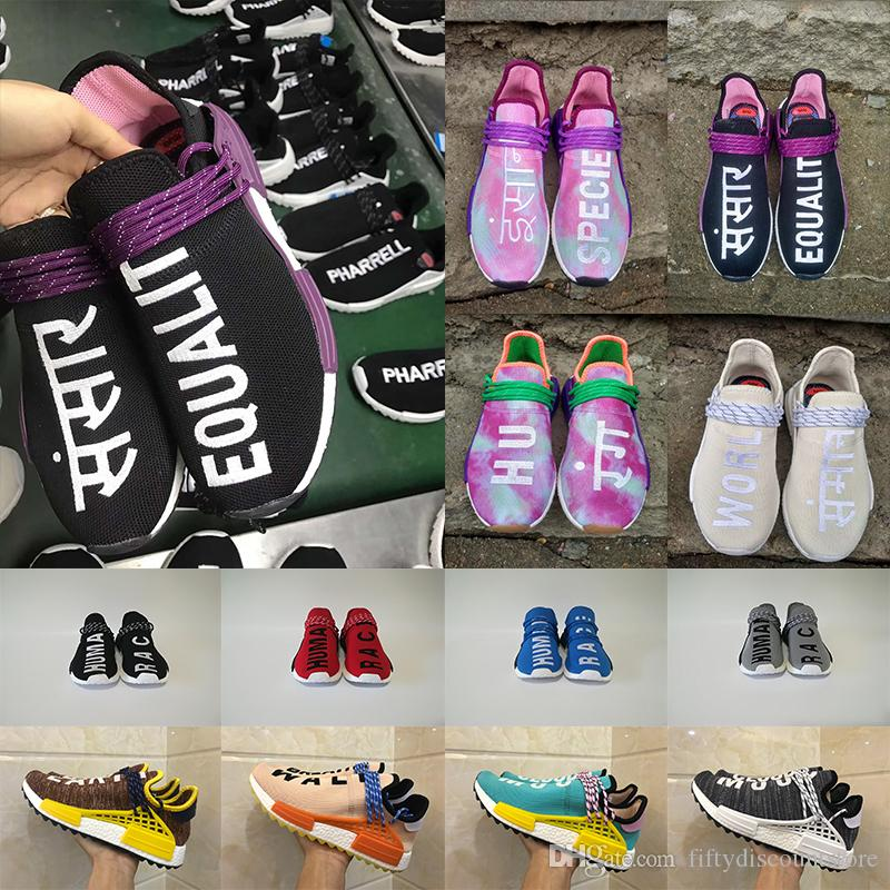 2018 New Human Race Pharrell Williams Blank Canvas Equality Holi Women Men Mens Designer Running Trainers Shoes Sneakers Size 36 47 Track Shoes Best