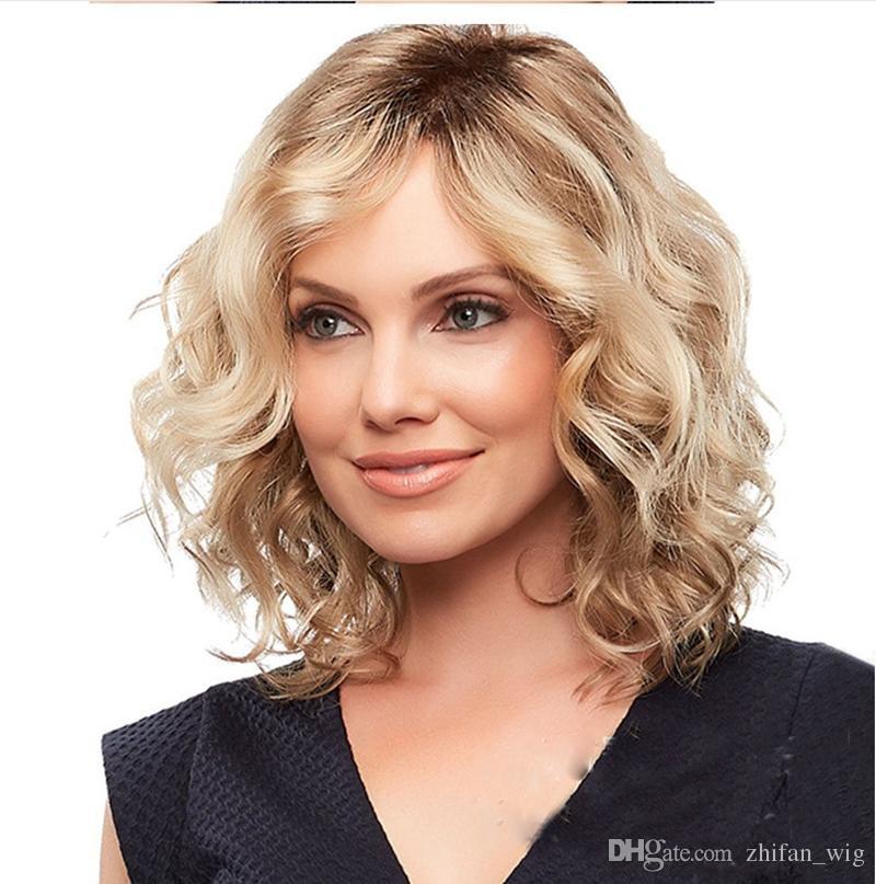 ZhiFan haute qualité vague naturelle ombre blonde côté court séparant les cheveux perruques synthétiques pour les femmes bob perruque de cheveux