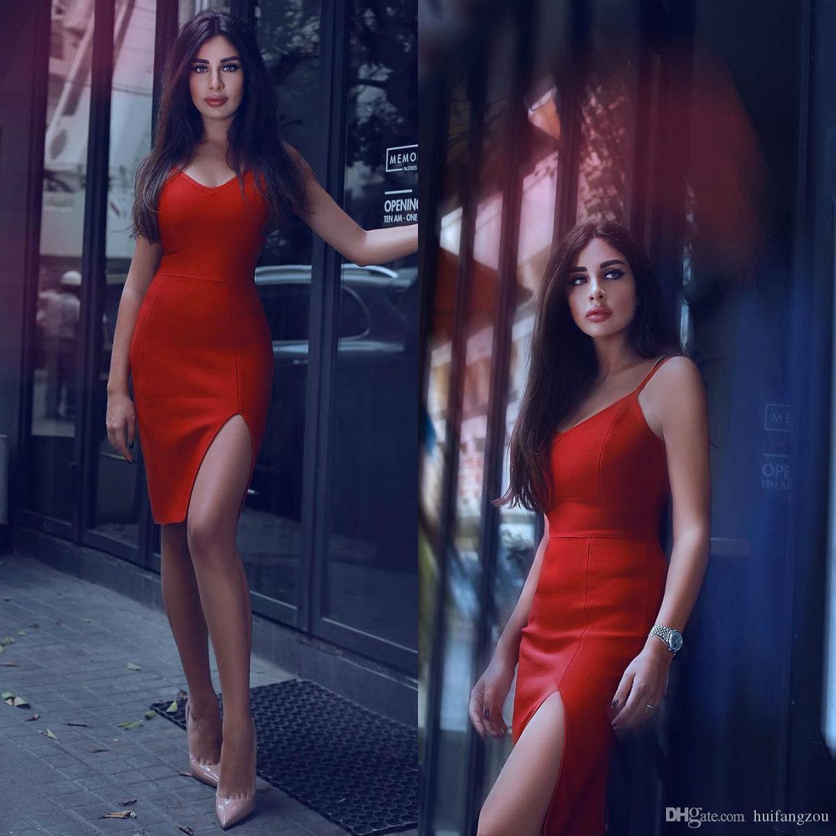 2018 Brand New Column Krótka sukienka Red Spaghetti Side Split Długość Koktajl Dresses