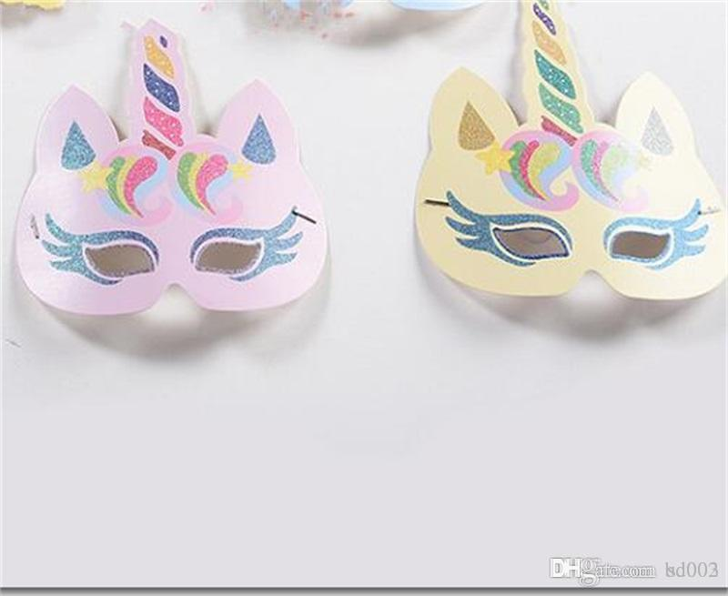 Unicorn Masquerade Mask Gold Glitter Paper Unicornio Face Masks For Child Small Birthday Party Wedding Decorations Practical 13dy cc