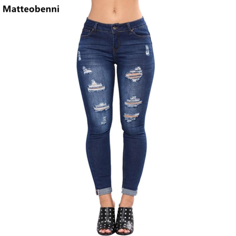 Bleach Wash Shredded Ripped Lápis Skinny Jeans Mulheres Blue mediana cintura magros calças compridas 2018 Botão Rocha elásticos Denim Jeans