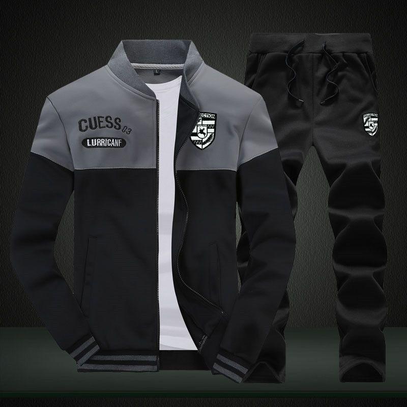 Active Riinr Brand New Men Sets Moda Autunno Primavera Abito sportivo Felpa + pantaloni della tuta 2 pezzi Abbigliamento uomo Slim Tuta da uomo