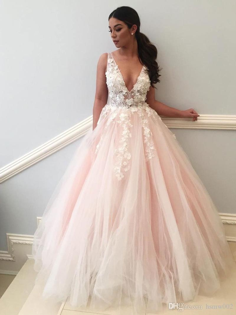 Sexy See Through Lace Appliques Pale Pink A line Long Custom Evening Prom Dresses Sexy Backless Prom Gowns Formal Dress For Party Wear