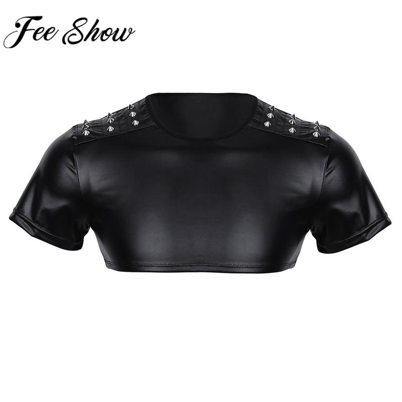 Mens Faux Leather Short Sleeve Cut Out Muscle Half Tank Top Clubwear Costume