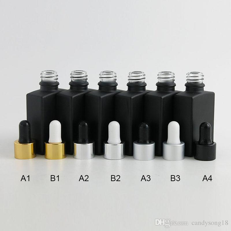 30 مل الصقيع الأسود الزجاجات المسطحة مربع مع العبث واضح القطارة 1 أوقية الأسود السائل الزجاج حفظ الحاويات القطارة F20173779