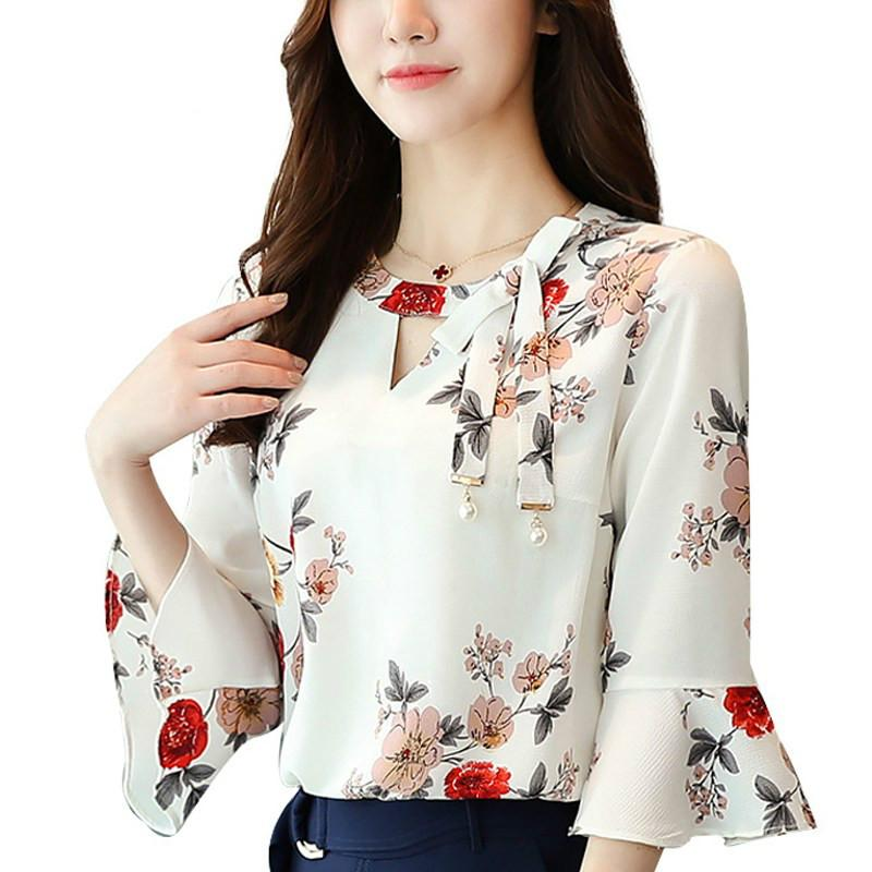 New Summer Autumn Blouse Women Tops Floral Print Shirts Elegant
