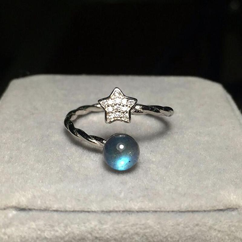 Ruifan Real 925 Sterling Silver Ajustável Anel Labradorite Natural para Mulheres Azul Light Moonlight Fine Jóias Yri019 Y18102610