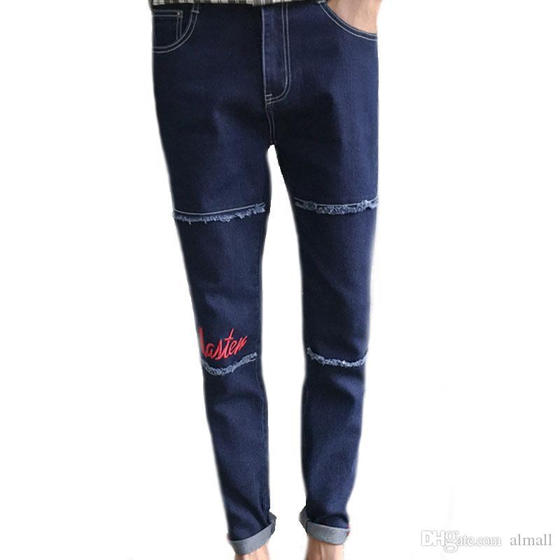 Calças de brim dos homens Denim Moda Bordado Calças de Brim Dos Homens Design Criativo Azul Preto Brand New Calças