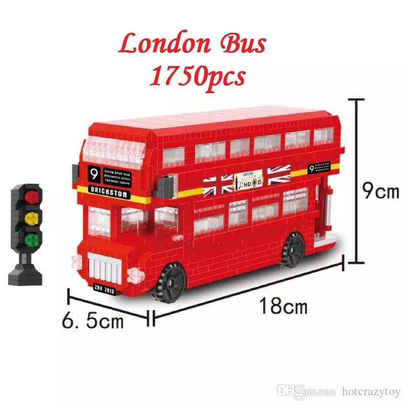 DIY Building blocks Mini London Bus Model Toy Car Educational Bricks Anime Children Toys Kids brinquedos Gifts for Children