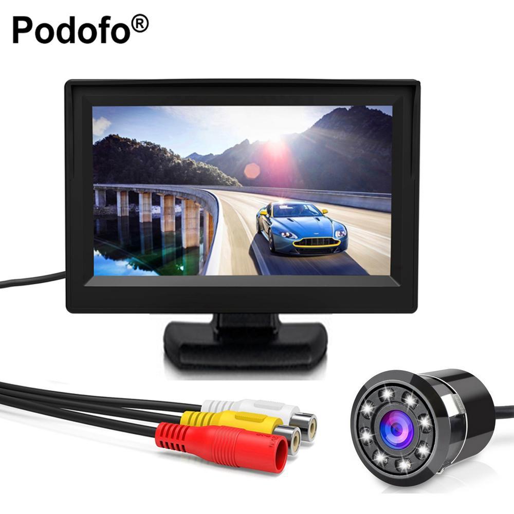 الجملة 8LED اتفاقية مكافحة التصحر للماء سيارة كاميرا العالمي HD سيارة للرؤية الخلفية احتياطية عكس وقوف السيارات الكاميرا + 4.3 TFT LCD سيارة مراقب