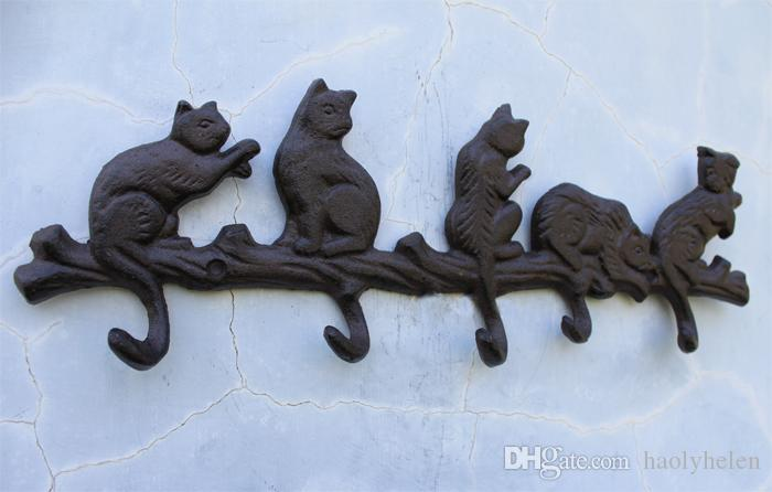 3 Pieces Cast Iron Decorative 5 Cats Coat Rack with 5 Hooks Key Hanger Holder Hanging Wall Decor Porch Cabin Lodge Antique Vintage Brown