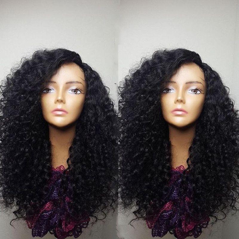 180density полностью синтетическое афро курчавого фигурный парик фронт шнурок термостойкий натуральный черный / коричневый / светло русый короткие боб парики для афро-американской