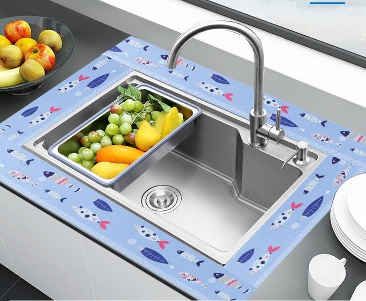 Spüle selbstklebende Spüle wasserdichte Aufkleber Küchenspüle Feuchtigkeitsabsorbierende wasserdichte Badezimmer Eitelkeit Waschbecken elektrostatische Absaugung