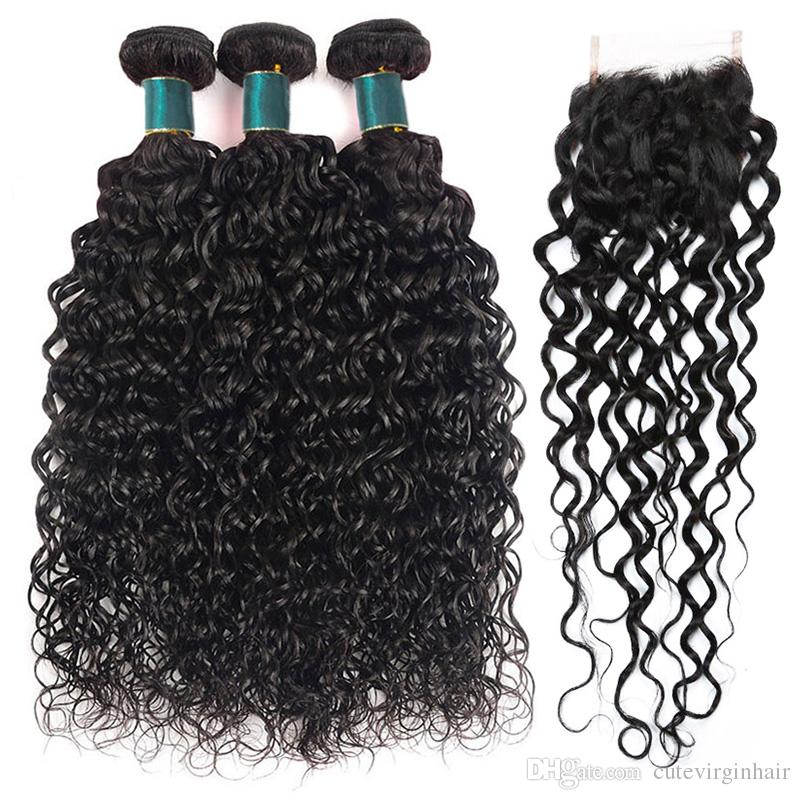 Human Hair 3 Bundles With 4x4 Lace Closure Water Wave Brazilian Wet and Wavy Virgin Human Hair Weaves Extension Natural Color 12-26 Inch