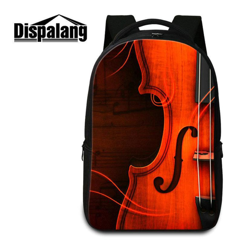 New Fashion School Backpack For College Student Violin Pattern Laptop Bag For Notebook High Quality Schoolbags Women Men's Outdoor Knapsack