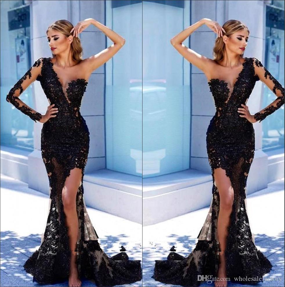 One Shoulder Lace Evening Dresses 2018 Arabic Long Sleeve Black Tulle Applique Mermaid Split Floor Length Formal Prom Party Dresses BA9571