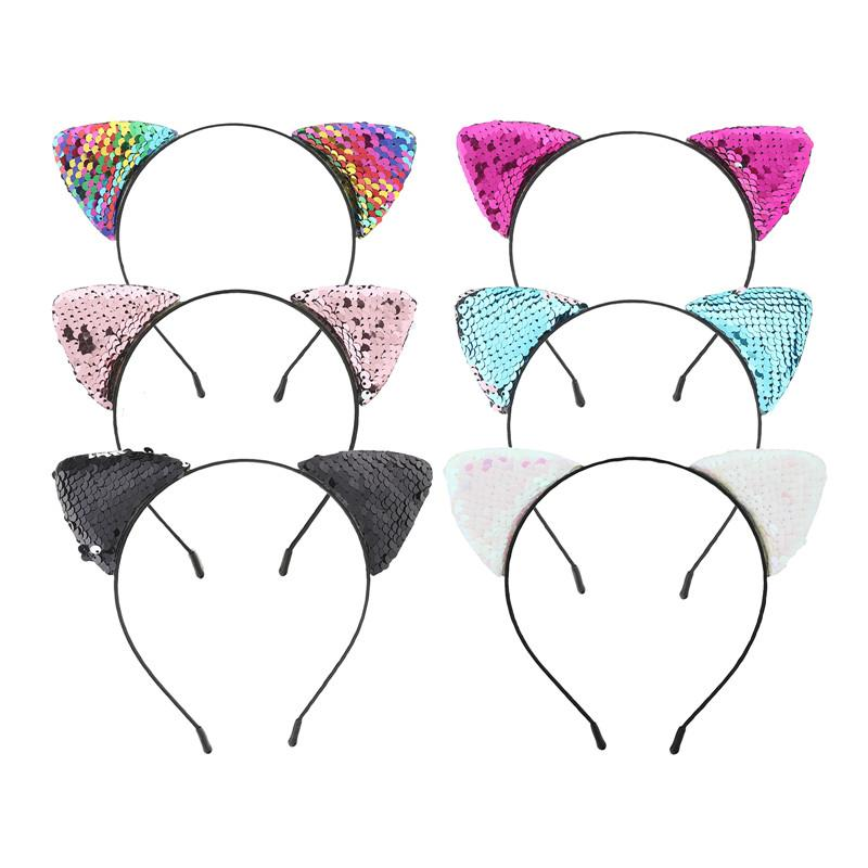 Haimeikang Reverse Glitter Sequins Girl Cat Ear Hairband Headband 2018 Sexy Flip Women DIY Hair Accessories For Kids Mermaid