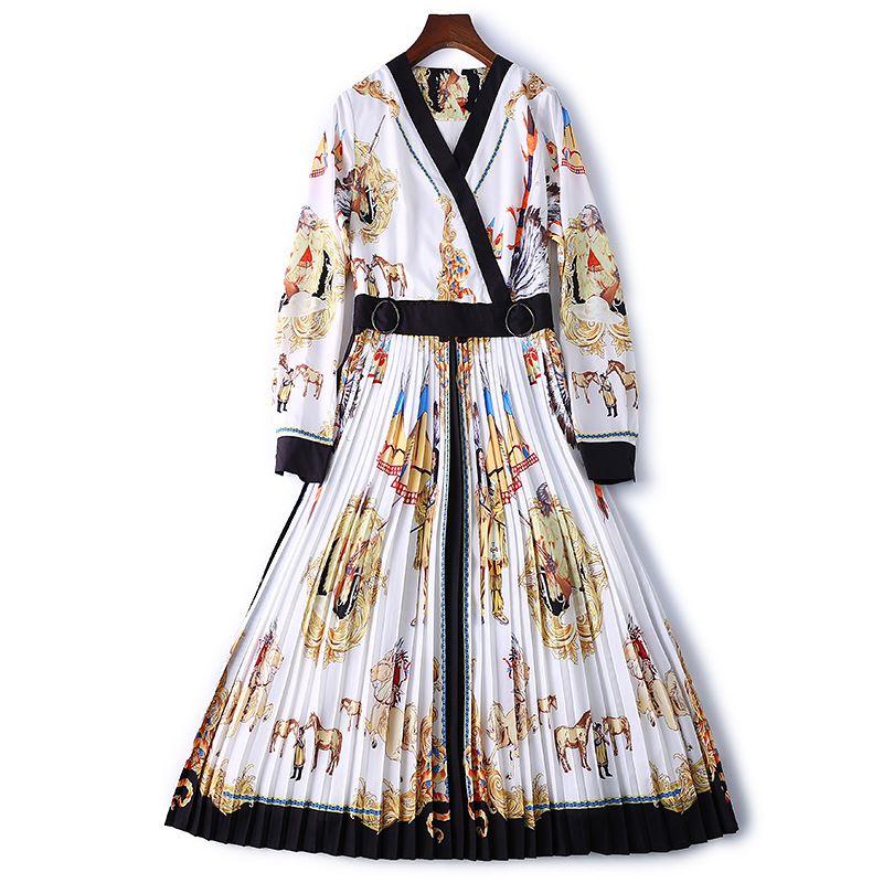 Women Dress simple long shrink waist V-neck sexy retro OL Printed folds wrinkle Belt print Lady Thin dance party Splicing lattice dress