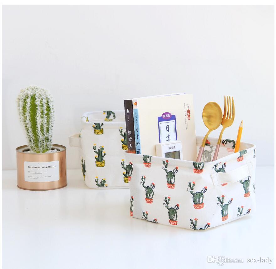 The New cactus Maquillaje Cosmético Caja de almacenamiento para niños Juguetes Almacenamiento Barriles Organizador Contenedor plegable Canasta de almacenamiento floral